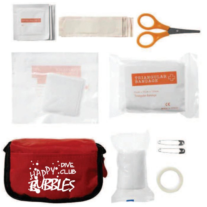 Kit di pronto soccorso in bustina Rossa con stampa Happy Bubbles